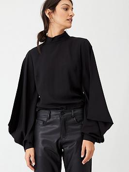 hugo-puff-sleeve-blouse-black