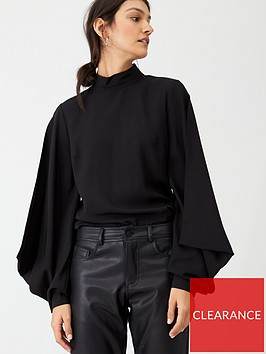 hugo-puff-sleeve-blouse-black