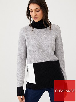 wallis-cable-patchwork-jumper-grey