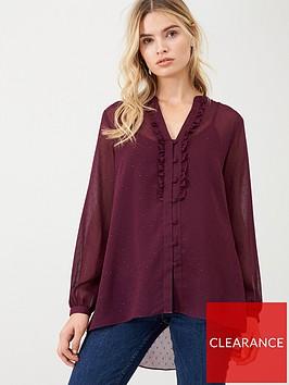 wallis-dobby-ruffle-front-blouse-berry