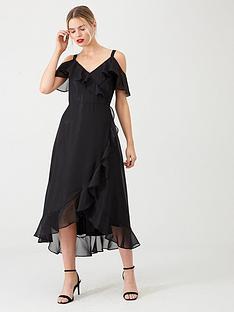 wallis-sparkle-ruffle-midi-dress-black