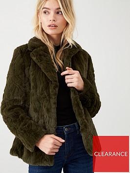 wallis-textured-faux-fur-coat-khaki