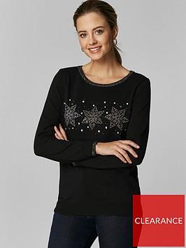 wallis-petite-snowflake-trio-jumper-black