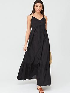 v-by-very-button-through-cotton-beachnbspmaxi-dress-black