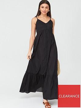 v-by-very-button-through-cotton-beachnbspmaxi-dress-black