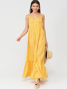 v-by-very-button-through-cotton-beachnbspmaxi-dress-yellow