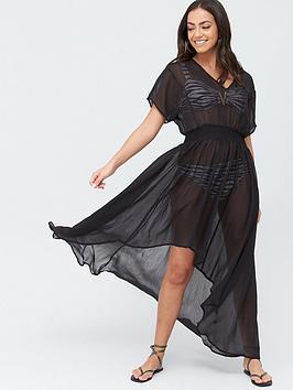 v-by-very-dipped-hem-beach-kimono-black