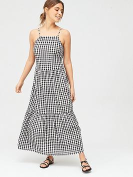 v-by-very-tiered-ginghamnbspdress-monochrome