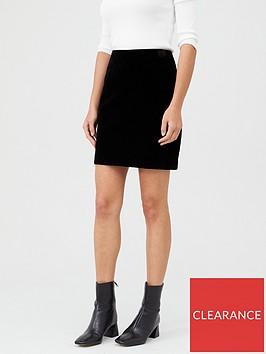 warehouse-velvet-pelmet-skirt-black