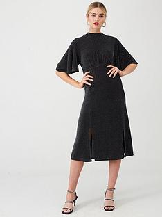 wallis-metallic-shimmer-high-neck-midi-dress-black
