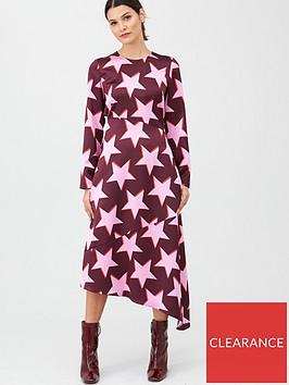 hugo-star-print-midi-dress-pink