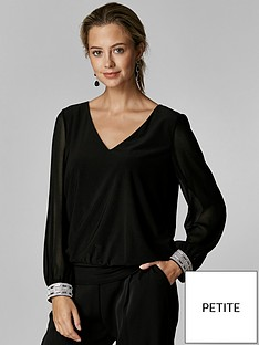wallis-petite-disco-trim-banded-hem-top