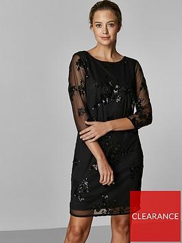 wallis-petite-floral-sequin-mesh-dress