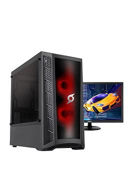 Zoostorm Stormforce Onyx Intel I3 9100F, 8Gb Ram, 1Tb Hard Drive, 4Gb Gtx 1650 Graphics, Gaming Pc (Black) + 24 Inch Asus Gaming Monitor