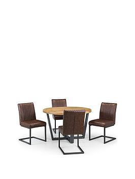 Julian Bowen Brooklyn 120 Cm Solid Oak And Metal Round Dining Table + 4 Brooklyn Chairs