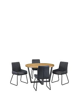 Julian Bowen Brooklyn 120 Cm Solid Oak And Metal Round Dining Table + 4 Soho Chairs