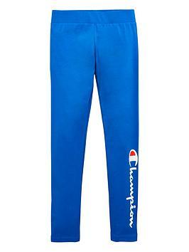 champion-girls-logo-leggings-blue