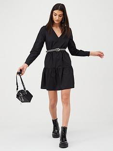 v-by-very-cotton-tiered-mini-dress-black