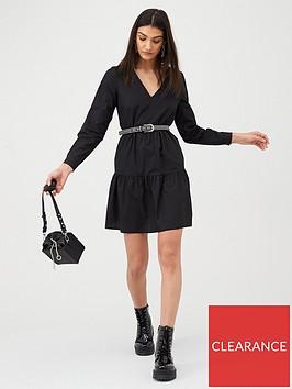 v-by-very-cotton-tiered-mini-dress-black