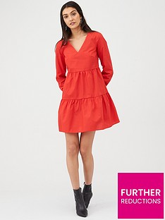 v-by-very-cotton-tiered-mini-dress-red