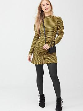 v-by-very-puff-sleeve-mini-dress-yellow-check