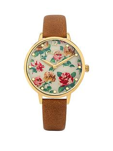 cath-kidston-cath-kdiston-somerset-rose-flower-printed-dial-tan-leather-strap-watch