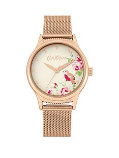 cath-kidston-cat-kidston-little-birds-print-gold-detail-dial-gold-stainless-steel-mesh-strap-ladies-watch