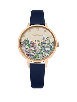 cath-kidston-london-view-printed-dial-navy-leather-strap-ladies-watch