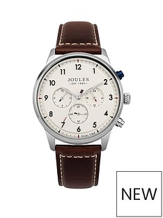 joules-joules-huxley-cream-multi-dial-brown-leather-strap-gents-watch