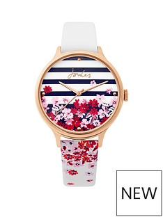 joules-joules-ambleside-printed-dial-white-strap-ladies-watch