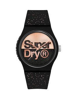 superdry-superdry-urban-glitter-brand-rose-goldblack-dial-black-rose-gold-glitter-silicone-strap-ladies-watch
