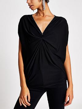 river-island-river-island-diamante-trim-twist-front-drape-top-black