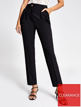 river-island-river-island-front-pleated-peg-trousers-black