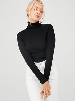 river-island-river-island-roll-neck-fitted-jumper-black