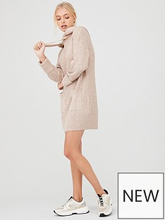 river-island-river-island-knitted-hoody-dress--neutral