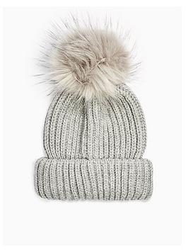 topshop-topshop-knitted-faux-fur-pom-pom-hat-grey