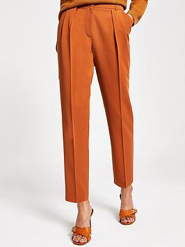 river-island-river-island-front-pleated-peg-trousers-tan