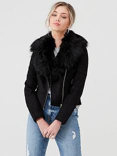 river-island-river-island-faux-fur-trim-suedette-biker-jacket-black