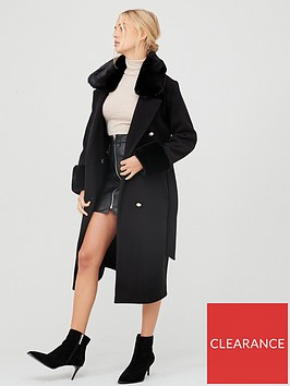 river-island-river-island-faux-fur-trim-tie-belt-longline-coat--black