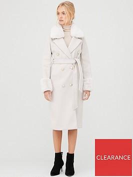 river-island-river-island-faux-fur-trim-tie-belt-longline-coat--beige