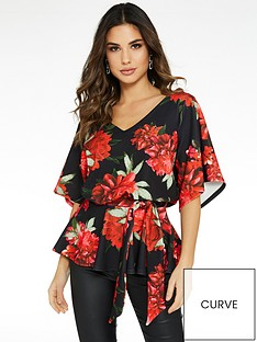 quiz-floral-print-batwing-belted-top-black-red