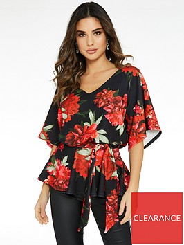 quiz-floral-print-batwing-belted-top-black-red