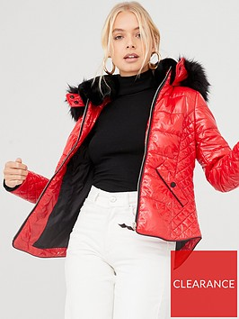 river-island-river-island-high-shine-padded-jacket--red