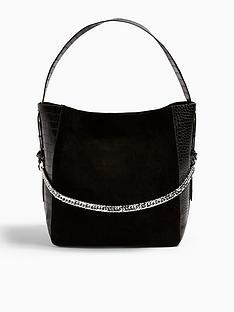 topshop-topshop-leather-mix-hobo-bag-black