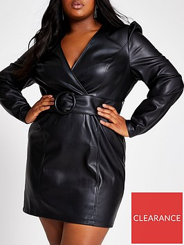 ri-plus-pu-belted-bodycon-dress-black