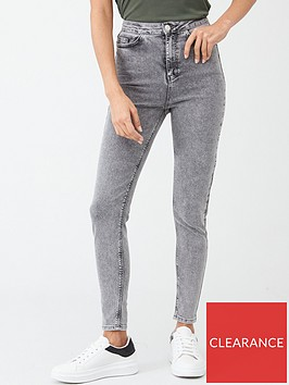v-by-very-charley-high-waisted-5-pocket-acid-wash-skinny-jean-grey