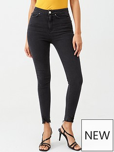 v-by-very-charley-high-waisted-destroyed-hem-skinny-jean-washed-black