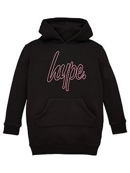hype-girls-script-hoodie-dress-black
