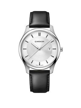 wenger-wenger-swiss-made-city-classic-silver-sunray-43mm-date-dial-black-leather-strap-mens-watch