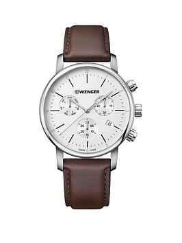 wenger-wenger-swiss-made-urban-classic-silver-chronograph-44mm-dial-brown-leather-strap-mens-watch